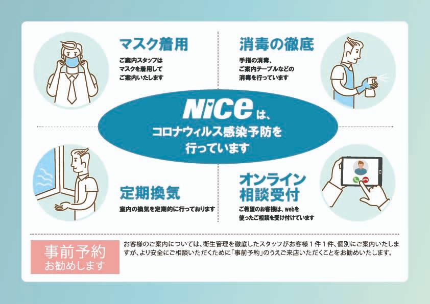 NICEは、コロナウイルス感染予防を行っています